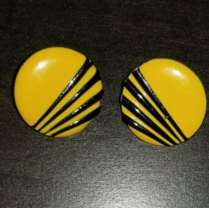Vintage Black & Yellow Earrings